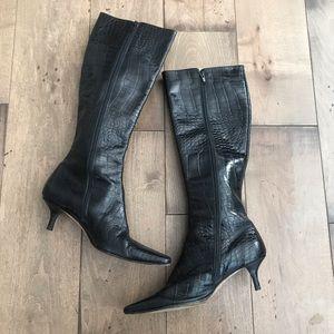 Isaac Mizrahi Leather Heeled Boots Black 6.5 Italy